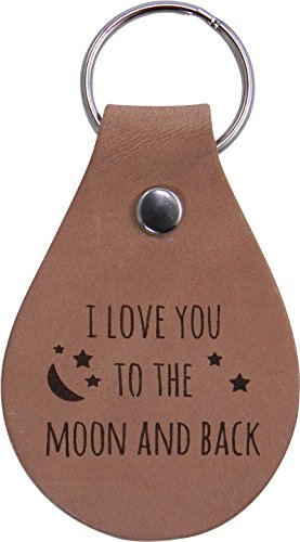 I Love You to The Moon and Back Leather Key Chain - Great Gift for Mothers's, Father's Day, Birthday,Valentines Day, Anniversary for Wife, Husband, Girlfriend, Boyfriend