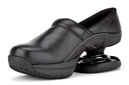 Z-CoiL Women's Toffler Slip Resistant Black Leather Clog Sandal 9 C/D US