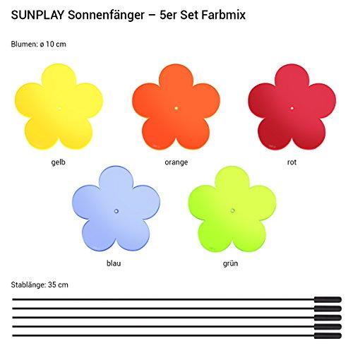 """SUNPLAY """"Sonnenfänger Blumen"""" im FARBMIX, 5 Stück zu je 10 cm Durchmesser im Set + 35 cm Schwingstäbe - 2"""