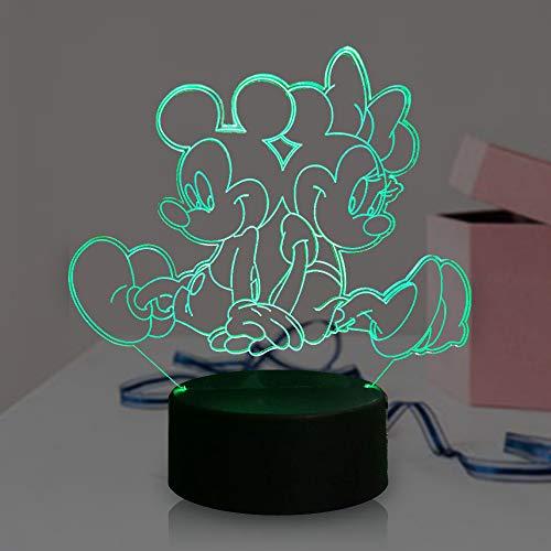Mickey Minnie Mouse Friends Lámpara LED 3D de dibujos animados para sala de estar infantil 7 colores USB cambio remoto luz nocturna para decoración del hogar, Navidad, Año Nuevo, Navidad, Año Nuevo