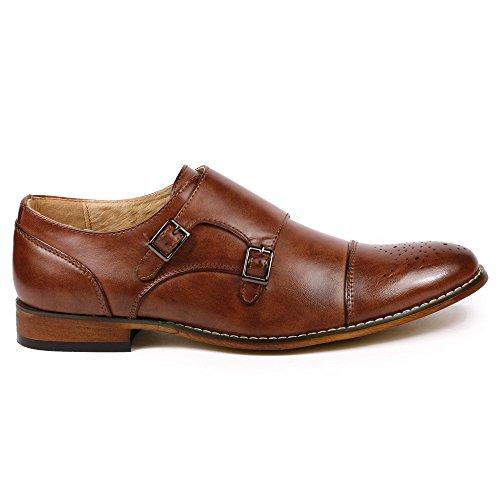 Metrocharm MC100 Men's Perforated Cap Toe Double Monk Strap Dress Shoes (12, Brown)