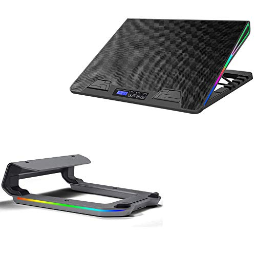 AICHESON AA2-RGB 1 Fan Heavy Laptop Cooling Cooler Pad and A6-SLV Laptop Stand Combination Set, Ergonomically Multiple Heights