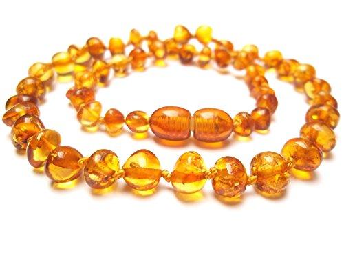 Amberta Collier Ambre 33cm. - 100% Plus Haute Qualite Certifie l'Ambre la Baltique Authentique Collier Perles