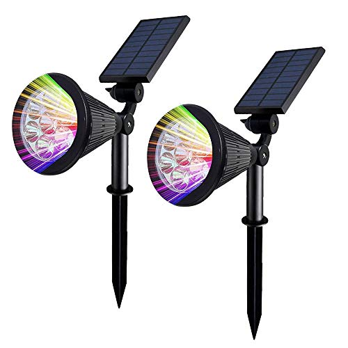 Mengjay Solar Strahler 7LED Solar Gartenleuchten Bunt Multicolor Solar Gartenlampe 7 Farben für Garten (2 Stücke)