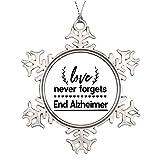 qidushop Adornos de Navidad para árbol de vacaciones Love Never Forgets End Alzheimer Negro copo de nieve Ornamento Artesanía Decoración de Acción de Gracias Decoración