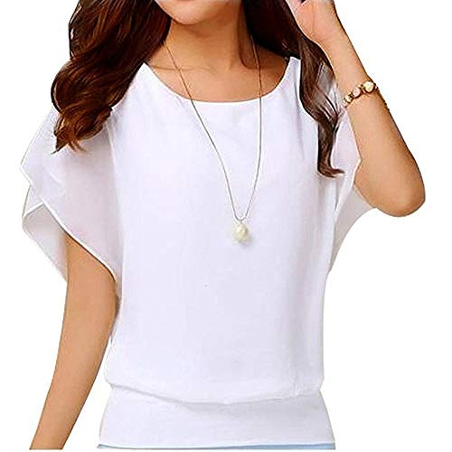 Chiffon T-Shirt für Damen/Dorical Sommer Casual Loose Fit Kurzarm Rundhals Fledermaus Batwing Shirt Elegant Top Bluse Casual Party Bluse Pullover Tees 8 Farben S-5XL Ausverkauf(Weiß,XX-Large)
