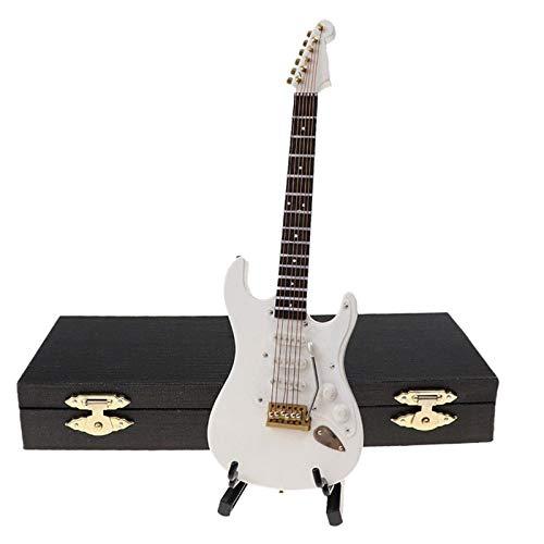 Iycorish Guitarra EléCtrica en Miniatura de Madera con Soporte y Estuche Instrumento Musical Casa de Mu?Ecas en Miniatura Modelo Blanco