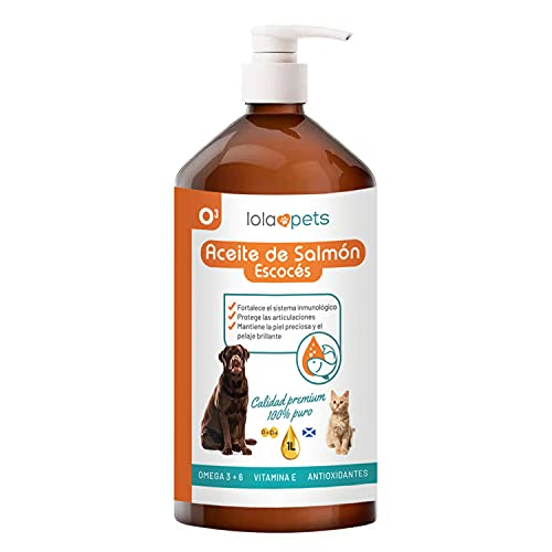 Aceite de Salmon para Perros - Gatos - Caballos - Hurones 100% 1 L – Aceite Salmon Escocés Perro con Omega 3 y 6, Vitamina E, Antioxidantes – Promueve La Salud de los Animales
