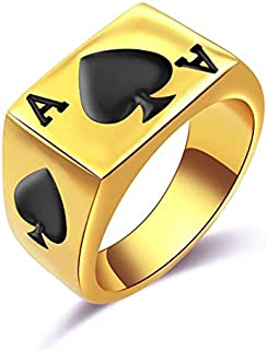JAJAFOOK Womens Girls Titanium and Stainless Steel Poker Spade Ace Ring Golden Black Size 6