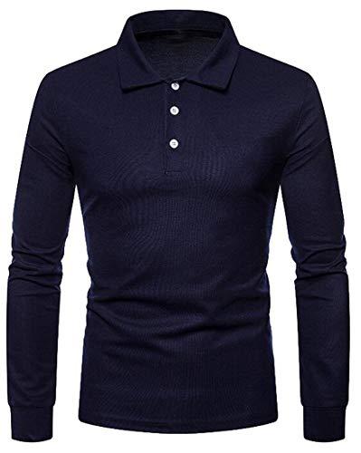 Jotebriyo Camisa polo masculina de manga comprida com lapela fina e cor sólida, Azul marinho, Medium