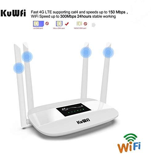 KuWFi 4G LTE WLAN router, Unlocked 4G CPE draadloze router met SIM-kaartsleuf Werkt met E-Plus/O2/T-Mobile/Vodafone samen met 32 gebruikers