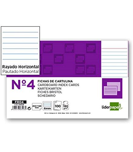 Liderpapel Ficha Rayada Nº 4 125X200Mm Paquete De 100 180 g/m²