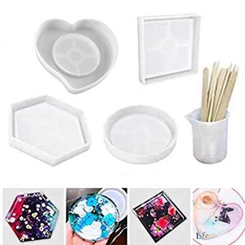 Incdnn Lot de 4 moules en silicone en résine pour sous-verres, bougeoires, pots de fleurs, tapis de bol, etc.