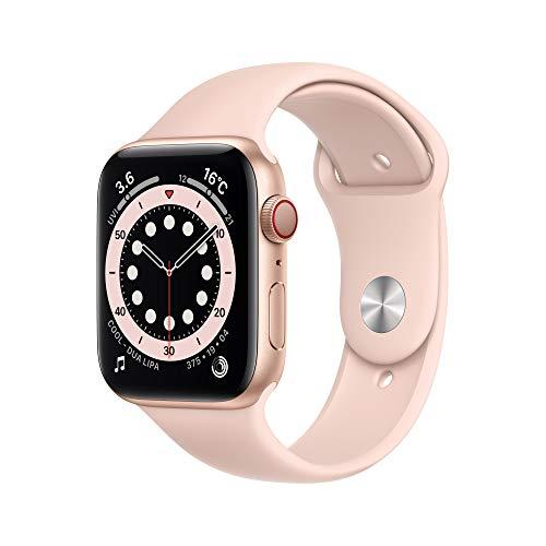 最新 Apple Watch Series 6(GPS Cellularモデル)- 44mmゴールドアルミニウムケースとピンクサンドスポーツバンド
