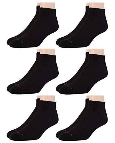 Nautica Mens' Stretch Comfort Athletic Quarter Cut Basic Socks (6 Pack) (Formal Black, Shoe Size: 6-12.5)