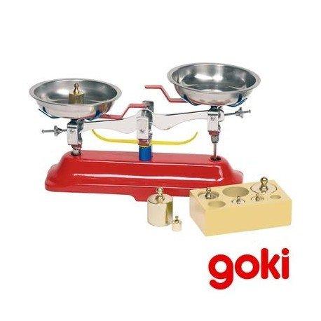 Goki BALANZA comercial de juguete con 2 platos fabricada en metal Indicado niños + de 5 años