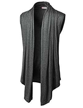 H2H Mens Casual Shawl Collar Open Front Sleeveless Long Cardigan Vest HEATHERCHARCOAL US S/Asia M  CMOCASL01