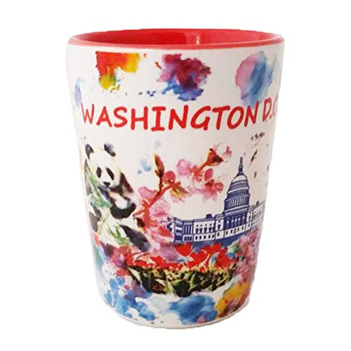 Capital City of Washington DC Colorful Water Coloring Souvenir Long Lasting Durable Ceramic Shot Glass