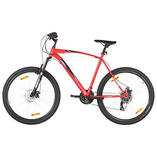 vidaXL - Bicicleta de montaña, bicicleta de ciclismo, artículo de deporte para adultos, exterior, frenos de disco, 21 velocidades, ruedas de 29 pulgadas, marco 53 cm, color rojo