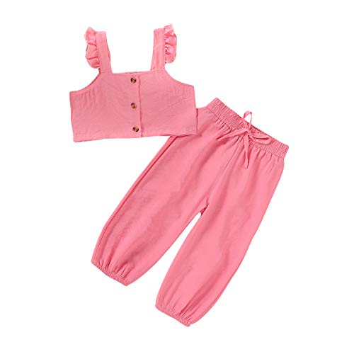 Toddler Baby Girl Clothes Solid Color Button Down Strap Crop Top+Elastic Waist Pants 2PCS Summer Outfit Set (Pink, 2-3 Years)
