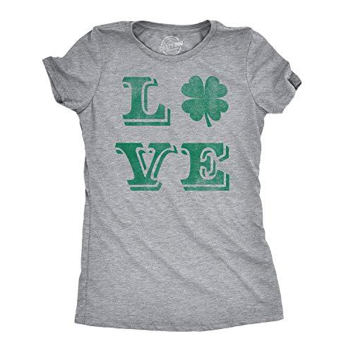 Womens Love Lucky Clover Saint Patricks Day Cute Irish St Patty Shamrock T Shirt (Light Heather Grey) - M