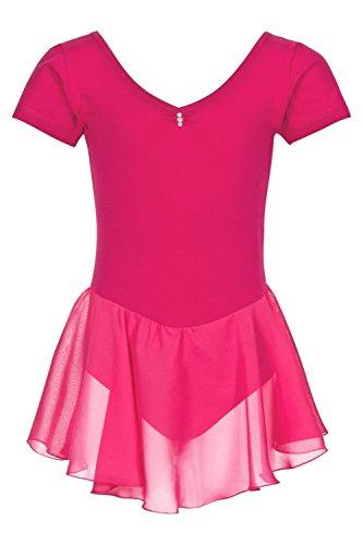 tanzmuster ® Ballettkleidung Ballettkleid Mädchen Kurzarm - Betty - extra weiche Baumwolle Glitzersteine Trikot fürs Kinder Ballett in pink, Größe:128/134
