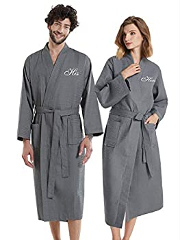 AW BRIDAL Grey Waffle Robe Womens Mens Cotton Robe Plus Spa Robe Loungewear Dressing Gown Bath Robes for Couples His and Hers Robes 2PCS
