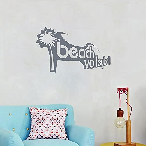 Vkjrro Pegatina de Vinilo para Pared de Voleibol de Playa, calcomanía de Pared de Ocio Deportivo, decoración de Sala de Estar Familiar, 72x47 cm