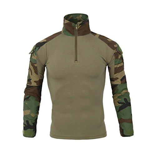 QCHENG Chemise de Combat Militaire Tactique Homme Tenue Airsoft Chasse Shirt Camouflage Multicam Uniforme à Manches Longues Woodland Small=Tag M
