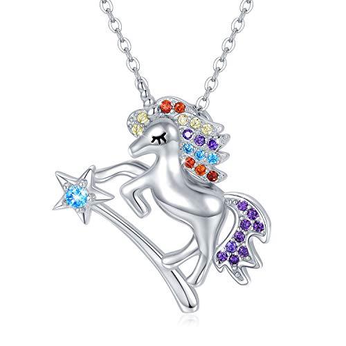 Einhorn Kette 925 Sterling Silber Regenbogen Einhorn Anhänger Halskette Stern Einhorn Schmuck für Damen Geburtstag Weihnachten Geschenk für Kinder Mädchen