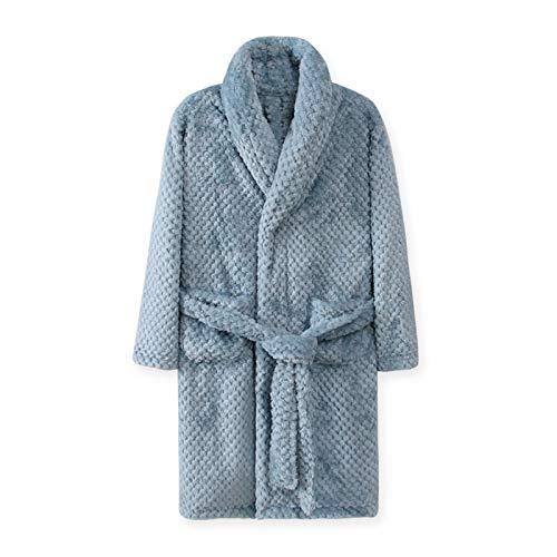 LEYUANA 4-18 Jahre Herbst Winter Bademantel, Kinder Nachtwäsche Robe Kinder Bad Robe warme weiche Pyjamas für Mädchen Junge Teenager Flanell Robe 18T blau