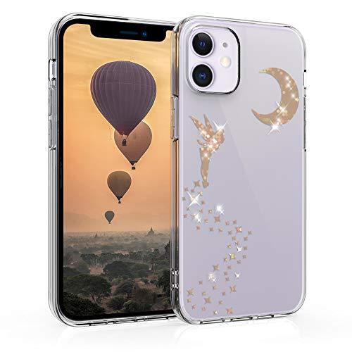 kwmobile Cover Compatibile con Apple iPhone 12 Mini - Back Case Custodia Posteriore in Silicone TPU Cover per Smartphone - Back Cover Fata alata Oro Rosa/Trasparente