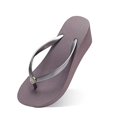 Damaifirstes Flip-Flop-Sandalen, bequem und robust, Keilabsatz, für Damen, Outdoor-Mode, Anti-Skating, dicke Endlos-Hausschuhe, violet_35