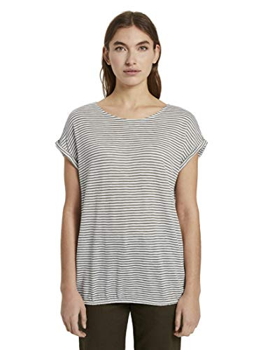 TOM TAILOR Knopf T-Shirt, 22958/Striscia di Kaki Bianco Sporco, S Donna
