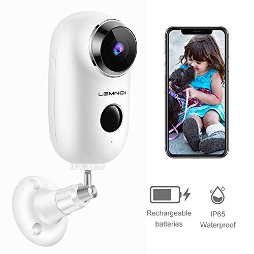 Lemnoi 1080P Caméra Surveillance sans Fil avec Batterie intégrée, Caméra IP WiFi...