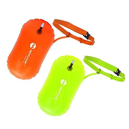Yundxi 2pcs Aufblasbare Schwimmboje Swim Boje Schwimmen Sicherheits Floss Trockene Tasche für Openwater Schwimmer, Kayakers, Schnorcheln, Training und Triathleten