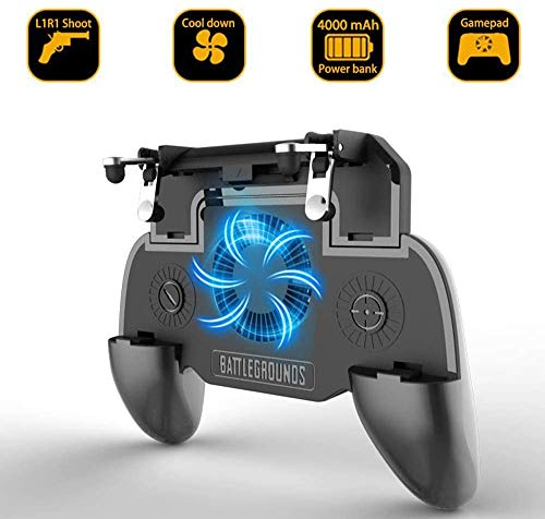 Leton-US PUBG Mobile Game Controller[with 4000mAh Power Bank and Cooling Fan] Mobile Gaming Trigger Gamepad L1 R1 Aim and Shoot Trigger Gaming Grip Joystick Compatible 4.7-6.5 inch All Smartphone