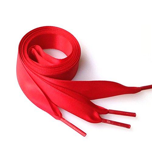 Tinksky Paire de cordons de soie 0.7M Chaussures Chaussures Chaussures Chaussures plates pour Décoration de chaussures bricolage (Deep Red)