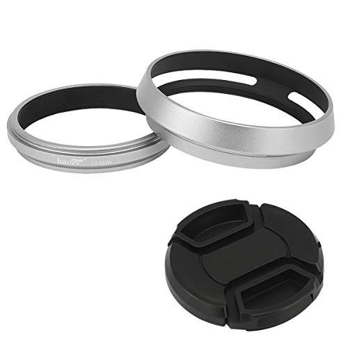 Haoge LH-X53W - Paraluce 3 in 1 con anello adattatore e tappo a scatto per fotocamera Fujifilm Fuji FinePix X70 X100 X100S X100T X100F X100V argento s