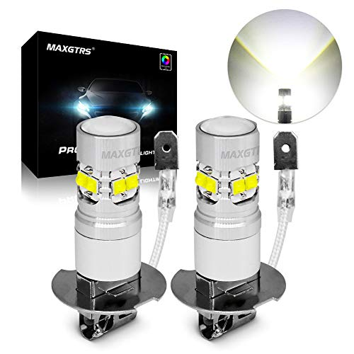 MAXGTRS H3 LED Fog Light CREE Chip,with Condenser Lens,High Performance 1:1 Design - 6000k Xenon White LED Fog Lamp