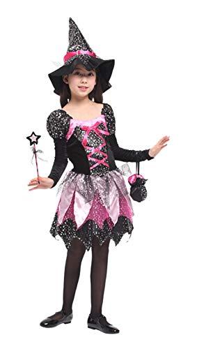 GIFT TOWER Hexekleid Halloween Mädchen Hexenkostüm mit Hexehut für Hexe Cosplay Karneval Faschingkostüm Mehrfarbig M/für 4-6 Jahre