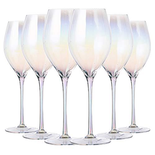 Copas de vino Juego Tinto De Color Arcoíris Único Copa De Cristal con Baño De Iones Copa De Vino Tinto De 460 Ml Esencial para Reuniones Familiares (Color : Rainbow Colors, Size : 6 * 25.5cm*6)