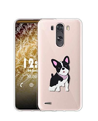 Sunrive Funda para LG G4, Silicona Slim Fit Gel Transparente Carcasa 3D Case Bumper de Impactos y Anti-Arañazos Espalda Cover(W1 Perrito)