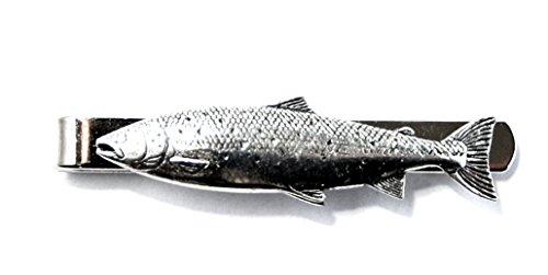 Clip de corbata de pescado salmón del Atlántico en inglés (slide) fina de estaño, en caja de regalo (AB)