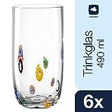 Leonardo Millefiori Trink-Gläser, handgefertigte Wasser-Gläser, Trink-Becher aus Glas mit Farb-Akzenten, 6er Set, 490 ml, 017185