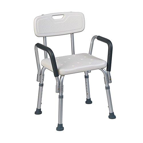 Teqler T-135303 Douchestoel, badkruk, douchestoel voor mensen die graag verzorgd worden, in hoogte verstelbare douchestoel