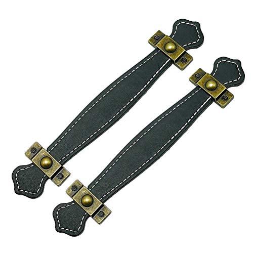SUPVOX 2 Stück Schubladengriffe aus Leder Vintage Koffergriffe Leder braun