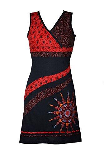 Filosophie Bezauberndes Kleid mit Mandala Muster und bunten Stickereien - 100% Baumwolle - LEIA (rot) (S/M)