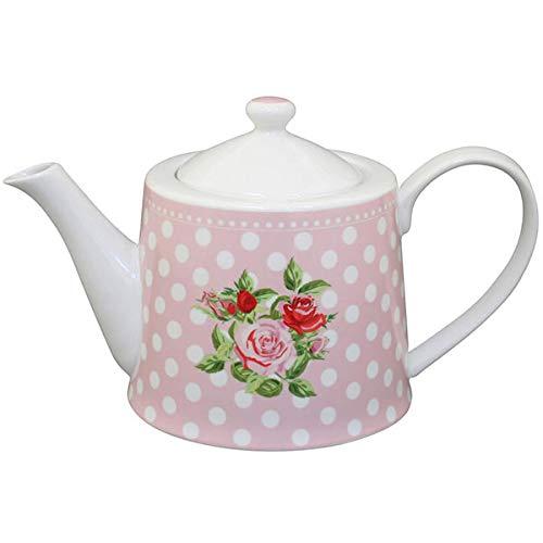Krasilnikoff - Teekanne - Dots N'Roses - rosa - Porzellan - Höhe: 14 cm - 1 L