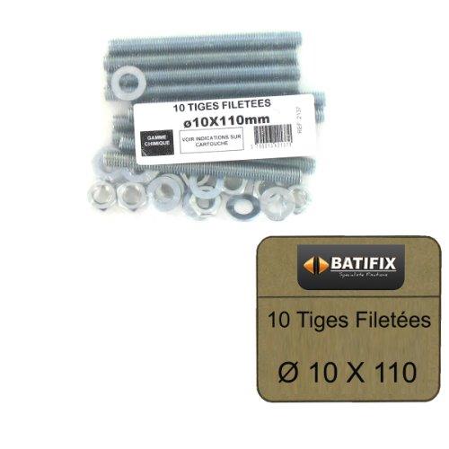 Varillas roscadas de diámetro de 10 paquetes de M10 x 110mm Batifix 10